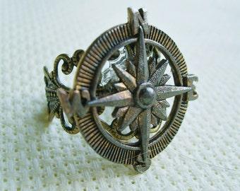 THE ORIGINAL Adventurer Steampunk  Compass Ring