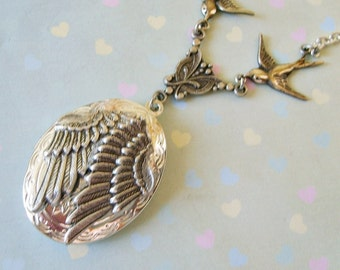 The Original Folded Guardian Angel Wings Enchanted Locket