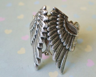 Folded Guardian Angel Wings ORIGINAL Ring by Enchanted  Lockets