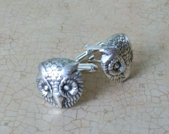 Steampunk Silver Owl Cuff Links