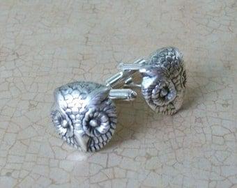 Steampunk Silver Owl Cuff Links