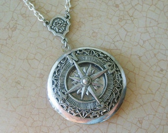 Compass Locket, Silver Compass Locket,Locket Necklace, silver Compass, Compass Necklace, Locket