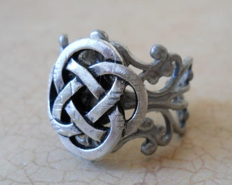 Celtic Knot Antiqued Silver Unisex Ring EXCLUSIVE DESIGN