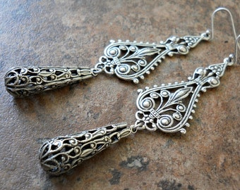 Victorian Style Antiqued Silver Filigree Dangle Earrings