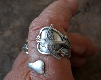 THEY'RE BACK Double Heart Spoon Ring with Swooping Sparrow,  Exclusive Design Only by Enchanted Lockets