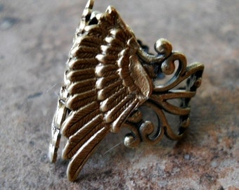 Guardian Angel Wings Ring in Antiqued Brass