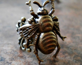 Queen Bee Enchanted Steampunk Ring in Antiqued Brass