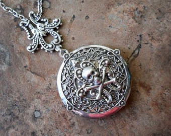 Steampunk Neo-Victorian Pirate Silver Locket Necklace-Skull and Crossbones- EXCLUSIVE DESIGN Only by Enchanted Lockets