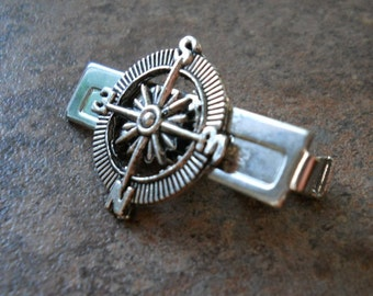Steampunk Adventurer Compass Men's Tie Bar Clip in Antique Silver By Enchanted Lockets
