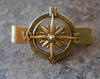 Steampunk Aventurer Compass Men's Tie Bar Clip in Antiqued Brass By Enchanted Lockets