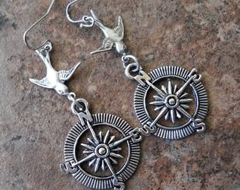Compass Steampunk Earrings, Silver Bird, Flying Bird Earrings, earrings, silver earrings, silver compass, steampunk, steampunk earrings