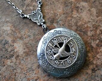 Time Flies Steampunk Locket in Antqued Silver-EXCLUSIVE DESIGN