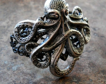 Steampunk Antiqued Silver Octopus Cuff Bracelet Exclusive Design