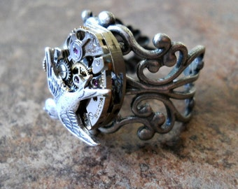 The ORIGINAL Swooping Bird Steampunk Silver Ring EXCLUSIVE DESIGN