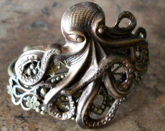 Steampunk Antiqued Brass Octopus Cuff Bracelet Exclusive Design