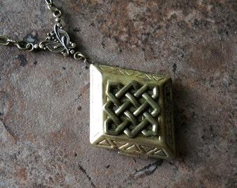 NEW Golden Brass Diamond Celtic Knot  Enchanted Irish Locket