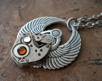 Steampunk Egyptian Scarab Pendant-Vintage Watch Movement-Cogs and Gears-Pewter and Brass