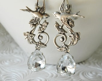 Garden Swallow and Swarovski Crystal Earrings in Antiqued Silver