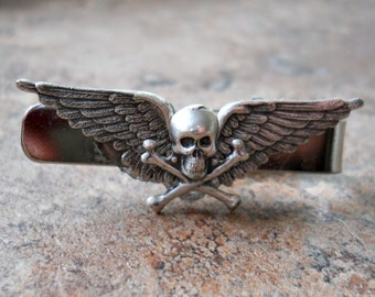 Flying Skull Tie Clasp, Steampunk Tie Clasp By Enchanted Lockets