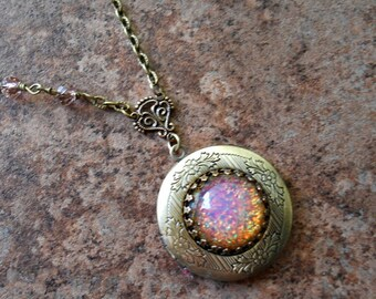 Fire Opal Brass Locket by Enchanted Lockets