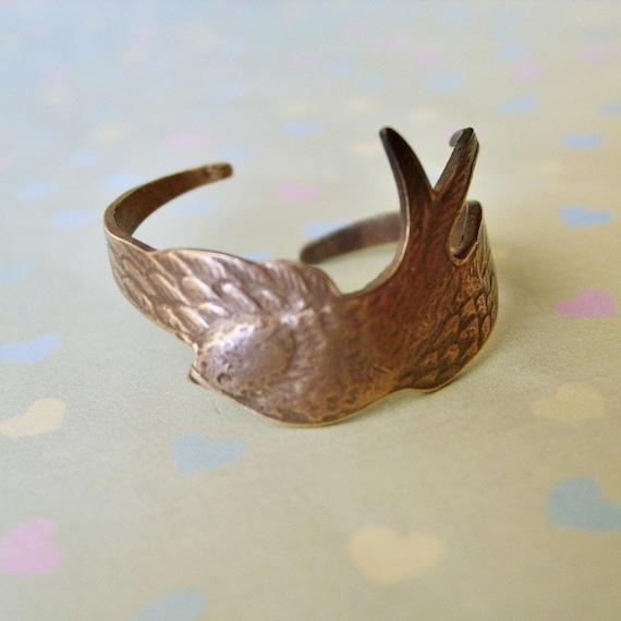 Brass Bird Ring, Swooping Bird Ring in Brass by Enchanted Lockets