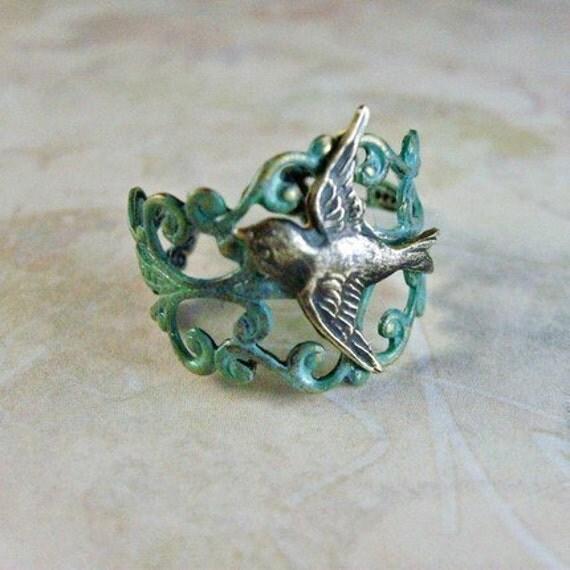 Verdigris Enchanted Sparrow Ring EXCLUSIVE DESIGN
