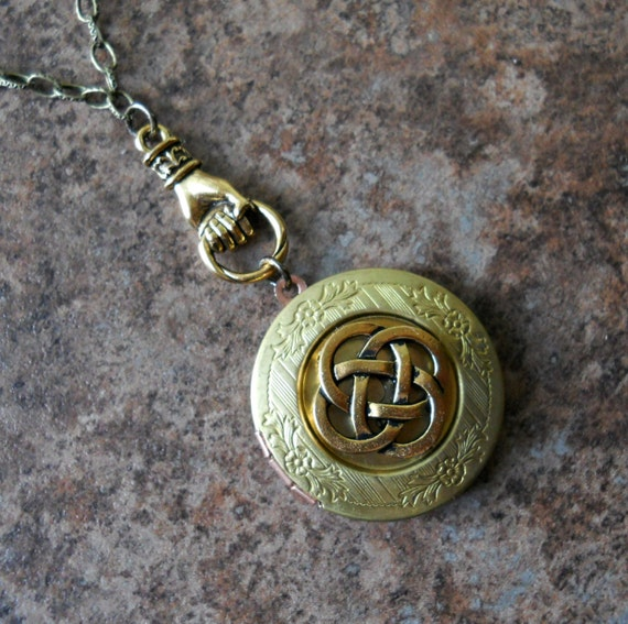 Irish Celtic Talisman Locket, Brass Celtic Locket, Brass Claddagh Locket, celtic locket, celtic talisman, celtic, brass locket, locket
