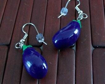 Kawaii Eggplant Earrings