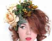 Handsewn Fascinator - Autumn Roses with Leaves, Twigs and Acorns