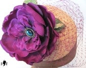 Handsewn Fascinator - Purple Rose with Veil