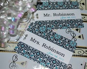 Personalized luggage tags Mr. and Mrs. set of two choose colors and text