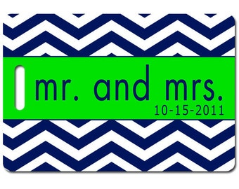 Personalized luggage tags Mr. and Mrs Chevron stripe set of two  choose colors and text
