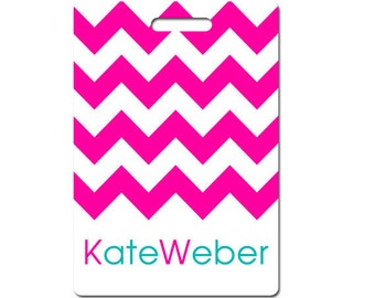 Personalized luggage tag, set of two pink, turquoise or choice of colors