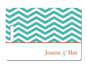 Personalized luggage tags turquoise chevron tangerine set of two choose colors text