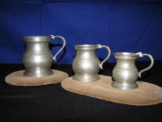 VINTAGE SHOT GLASS MEASURES - PEWTER GILL MEASURING CUPS - SET OF 3