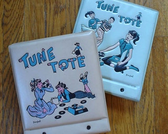 2 VINTAGE PONYTAIL TUNE TOTE RECORD CADDYS FOR 45s