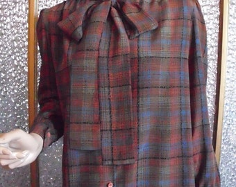 Small Silk Plaid Button Up Blouse With Tie