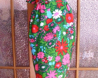 Late 60s Floral Maxi Dress