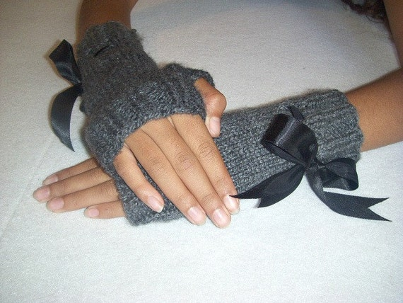Smokey Grey Hand Knit Fingerless Gloves with Black Satin Ribbon Bow-Adult Women-Wrist Warmer-Arm Warmer-Winter Mitts Accessories