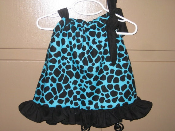 SALE PRICE - Size 3/6 Months Black and Blue Animal Print Dress