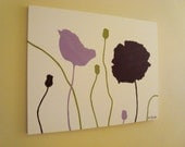 Modern Poppies - Lavender Lime and Magenta Original Contemporary Painting