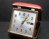 Vintage Red Phinney-Walker Traveling Alarm Clock day -night