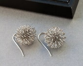 "Silver Earrings - ""Thistle"" - Contemporary Earrings in Rhodium"