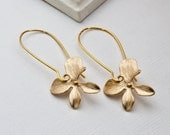 Gold  Jewelry, Gold Orchid Flower Earrings, Simple Earrings, Wedding Jewelry, Mother, Sister, Matte Silver available
