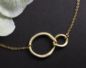 Sisters for Infinity, Double Ring Jewelry, Gold Hoop Necklace, Simple Gold Jewelry, Birthday Gift, Infinity Charm, Friendship Jewelry