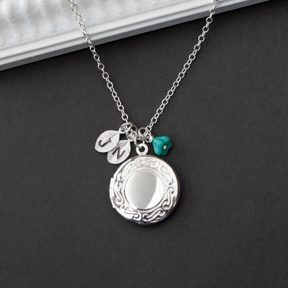 """Personalized Silver Locket Necklace -""""Timeless"""" Silver Locket  - Custom Initials, perfect Birthday, Anniversary Gift"""