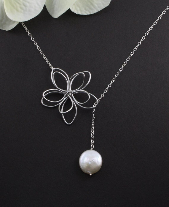 "Sterling Silver Jewelry - ""Garden Moon"" Flower & Coin Pearl Necklace - bridal jewelry, birthday, anniversary, mother, best friend gift"