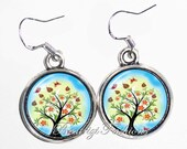 Tree  Art Earrings, Photo & Resin Charms Earrings - Silver 925 Hooks - Personalized Double Sided - BeatriziFashions