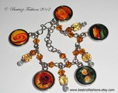 Vintage Roses Photo Charms Bracelet, Yellow and Red Flowers Bracelet, Resin and Swarovski Crystals Picture Bracelet