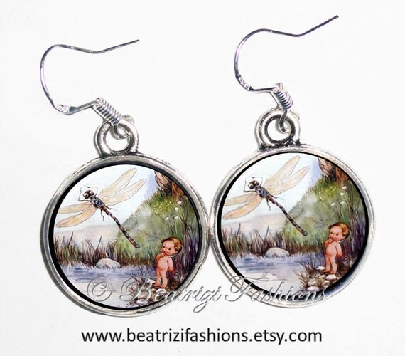 Vintage Water Babies Art Earrings, Tom and the Dragonfly Photo & Resin Charms Earrings - Silver 925 Hooks - Personalized Double Sided